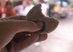 Chocolate Bao. International street food in Bangkok Thailand