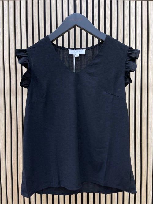 חולצת קרופ שרוולי וולן שחורה