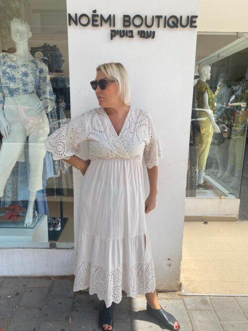 שמלה מקסי תחרה בז