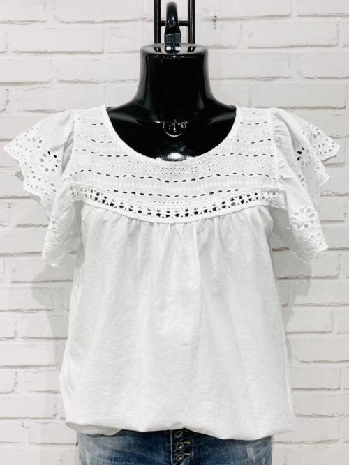 חולצה תחרה ויסקוזה לבנה