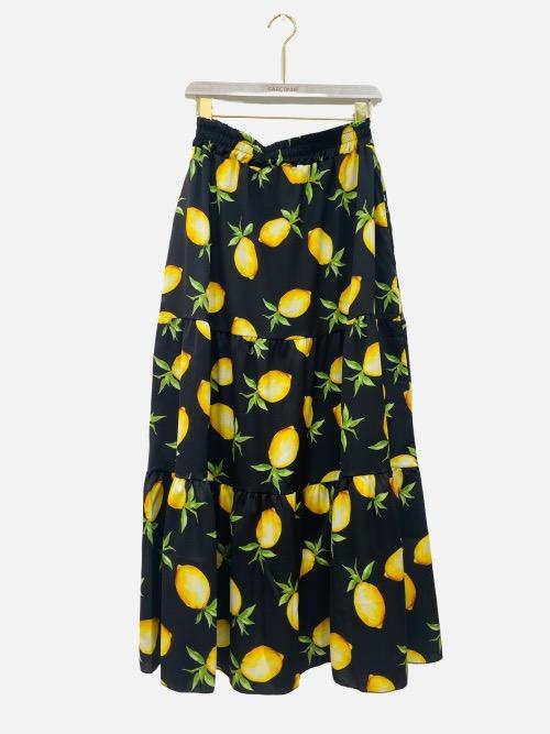 חצאית מקסי לימונים שחורה