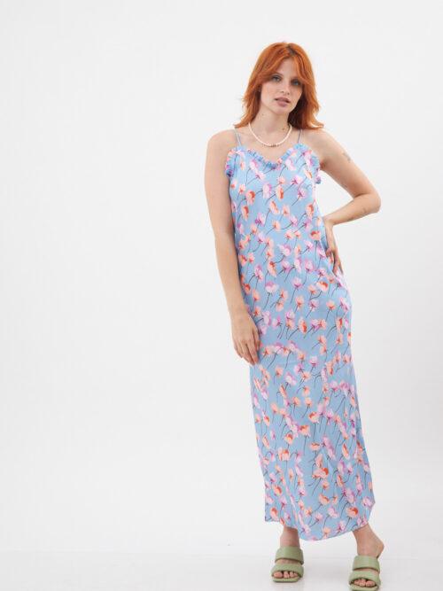 שמלה כתפיות מקסי תמי כחולה