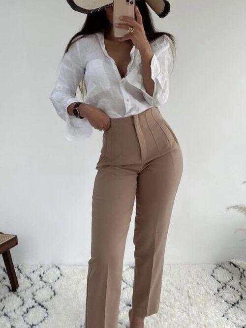 מכנסיים בגזרה גבוהה מחוייט קאמל