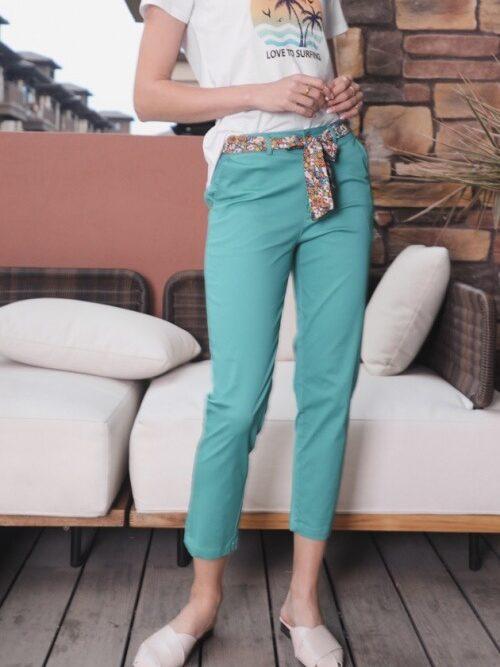מכנסיים חלקים מלניה ירוק