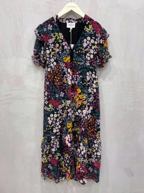 שמלה מקסי הדפס פרחוני שחורה