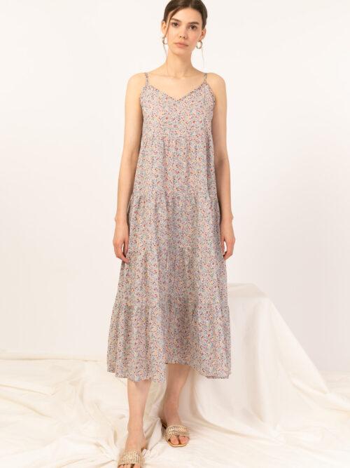 שמלה כתפיות הדפס פרחוני