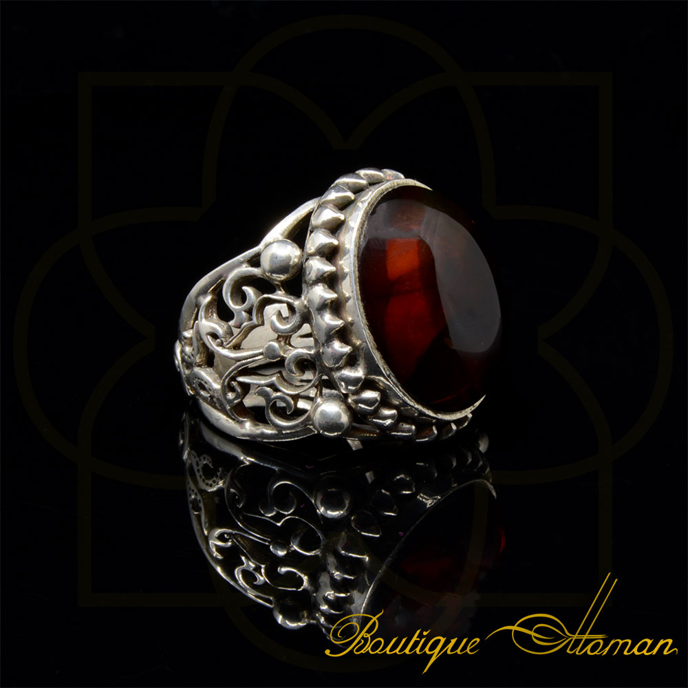 Craft Collection Silver Amber Handicraft Ring Boutique
