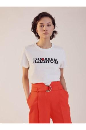 """T-shirt manches courtes brodé """"woman"""" Sinequanone"""