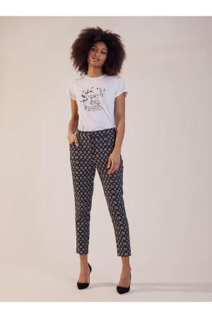 Pantalon Sinequanone de tailleur imprimé, pli tailleur, forme étroite, taille haute