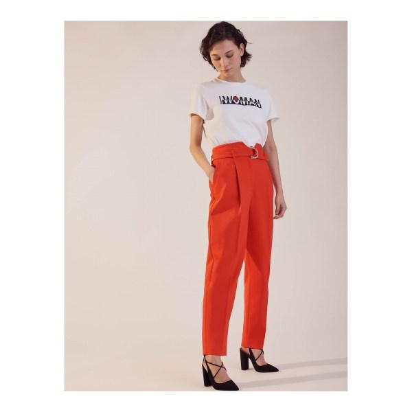 Pantalon de tailleur Sinequanone uni, taille haute, ceinture fantaisie avec boucle