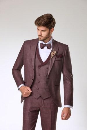 costume style bohème champêtre, bordeaux gilet croisée, ganse en satin, costume en lin, noeud papillon, 3 pièces en total look
