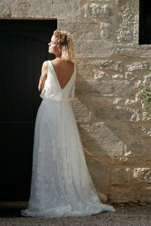 modèle raconte-moi collection Bochet robe de mariée style bohème bustier fluide en tulle blousant, jupe en tulle brodé. tendance 2022