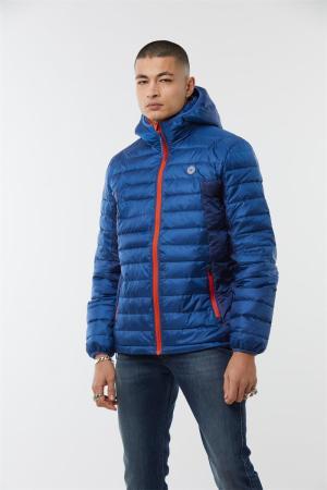 doudoune compact avec sac de rangement - pour voyage bleu éléctrique et orange. Intérieur et col polaire. Capuche