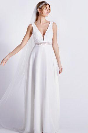 robe de mariée 08-4230 en mousseline et dentelle style bohème