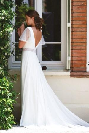 Robe de mariée bohème en mousseline, ceinture en voile plumetis transparent