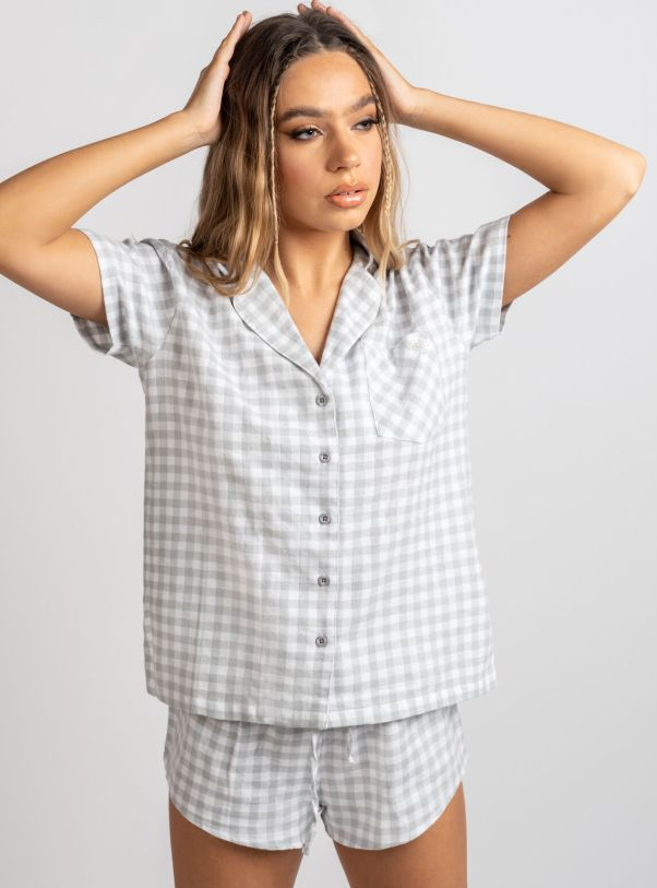 Grey gingham shortie in a bag Boux Avenue