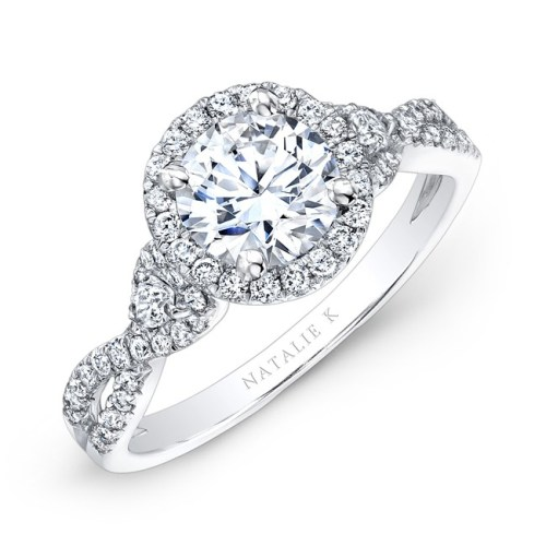 nk26281 w three qrtr 1 3 - 18K WHITE GOLD HALO DIAMOND ENGAGEMENT RING WITH PEAR SHAPED SIDE STONES NK26281-W