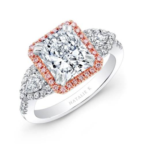 17470 wr 1 3 - 18K WHITE AND ROSE GOLD PINK DIAMOND ENGAGEMENT RING
