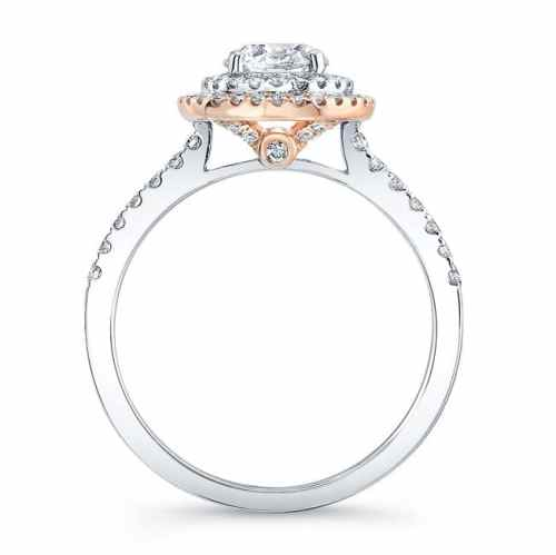 fm31335 18wr profile - 18K WHITE AND ROSE GOLD WHITE DIAMOND DOUBLE HALO ENGAGEMENT RING