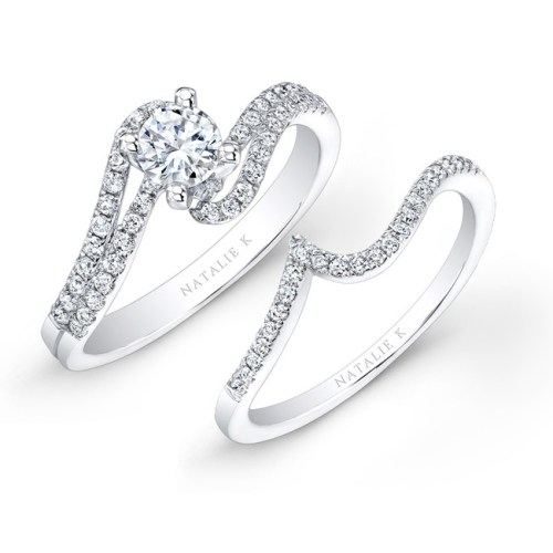 nk25362we w 4 - 14K WHITE GOLD SPLIT SWIRL SHANK PRONG DIAMOND BRIDAL SET
