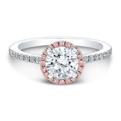 nk28669pk 18wr front fm 1 1 - 18K WHITE AND ROSE GOLD PINK AND WHITE DIAMOND HALO ENGAGEMENT RING