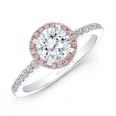 nk28669pk 18wr three qrtr 3 1 - 18K WHITE AND ROSE GOLD PINK AND WHITE DIAMOND HALO ENGAGEMENT RING