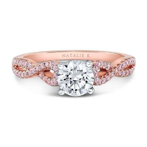 nk28670pk 18rw front fm - 18K WHITE AND ROSE GOLD TWISTED SHANK PINK DIAMOND ENGAGEMENT RING