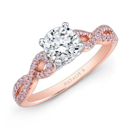 nk28670pk 18rw three qrtr - 18K WHITE AND ROSE GOLD TWISTED SHANK PINK DIAMOND ENGAGEMENT RING