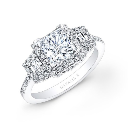 what - 18K WHITE GOLD PRINCESS CUT DIAMOND ENGAGEMENT RING WITH TRAPEZOID SIDE STONES