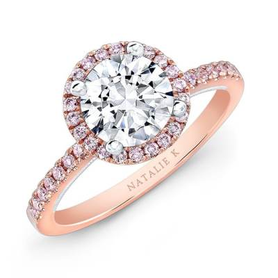 nk28671pk 18rw three qrtr 3 - 18K ROSE AND WHITE GOLD PINK DIAMOND HALO WHITE DIAMOND GALLERY ENGAGEMENT RING