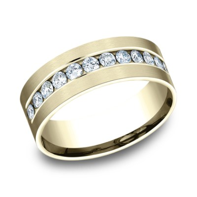 CF528531Y P1 - YELLOW GOLD 8MM CHANNEL SET DIAMOND BAND