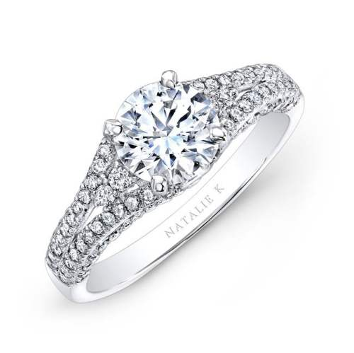 nk25790 w three qrtr 1 3 - 18K WHITE GOLD PRONG AND BEZEL SET WHITE DIAMOND ENGAGEMENT RING