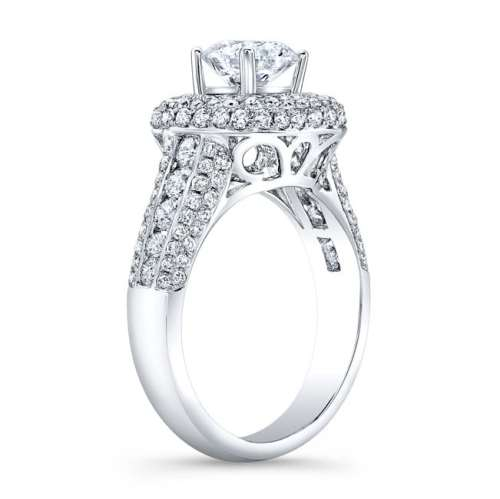 nk31702 18w side profile - 18K WHITE GOLD VINTAGE-INSPIRED PAVE DIAMOND ENGAGEMENT RING