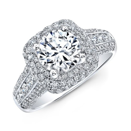 nk31702 18w three qrtr 1 - 18K WHITE GOLD MICRO PAVE PRINCESS CUT HALO DIAMOND ENGAGEMENT RING WITH SIDE STONES NK22438-W