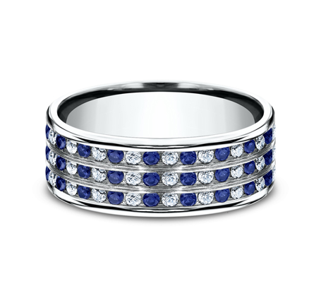 CF528558PT P3 - 8MM  DIAMOND AND BLUE SAPPHIRE BAND CF528558PT