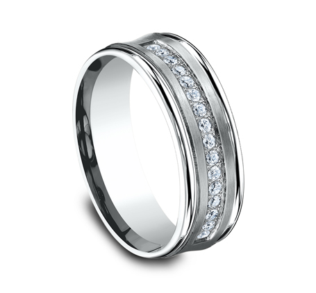 CF717593W P2 - 7.5MM  WHITE GOLD DIAMOND BAND CF717593W