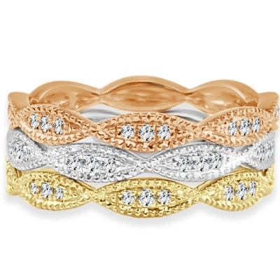 CR3688 - BOVA SIGNATURE  - 14K DIAMOND 0.17CT STACKABLE BANDS - CR3688