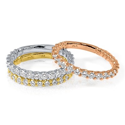 R358 - BOVA SIGNATURE  -14K DIAMOND 0.93CT STACKABLE BANDS  - R358