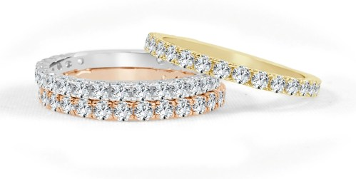 R575WPY 1 - BOVA SIGNATURE  - 14K DIAMOND 0.74CT STACKABLE BANDS - R575