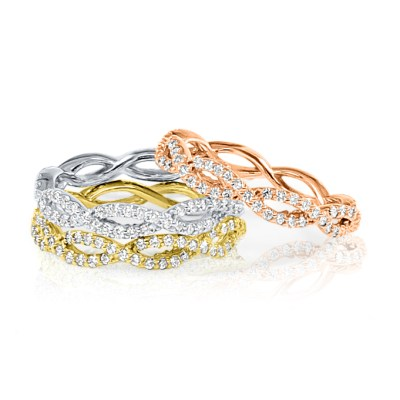 R634 - BOVA SIGNATURE  - 14K DIAMOND 0.52CT STACKABLE BANDS -  R634