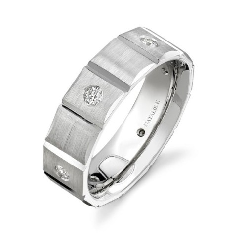 14K WHITE GOLD BEZEL ROUND DIAMOND MENS BAND NK13847 W - 14K WHITE GOLD BEZEL ROUND DIAMOND MEN'S BAND NK13847-W