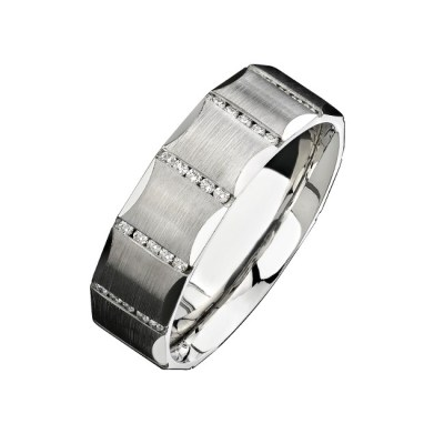 14K WHITE GOLD CHANNEL ROUND DIAMOND MENS BAND NK13851 W - 14K WHITE GOLD CHANNEL ROUND DIAMOND MEN'S BAND NK13851-W