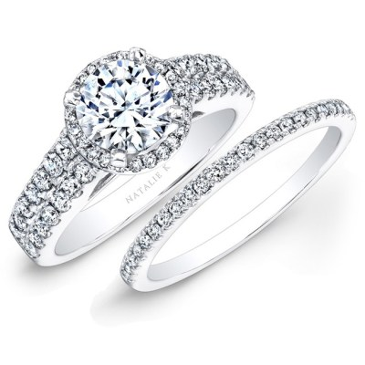 14K WHITE GOLD PRONG TWO ROW HALO WHITE DIAMOND BRIDAL SET NK25876WE W - 14K WHITE GOLD PRONG TWO ROW HALO WHITE DIAMOND BRIDAL SET NK25876WE-W