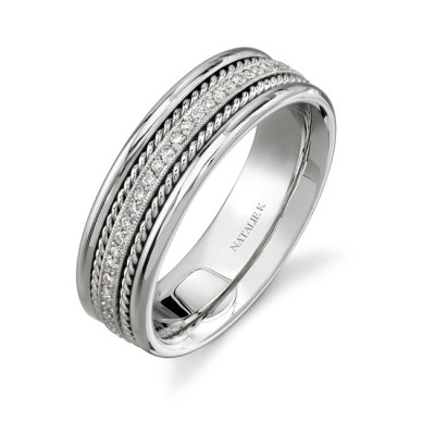 14K WHITE GOLD ROPE DETAIL PAVE DIAMOND MENS BAND NK15469 W - 14K WHITE GOLD ROPE DETAIL PAVE DIAMOND MEN'S BAND NK15469-W