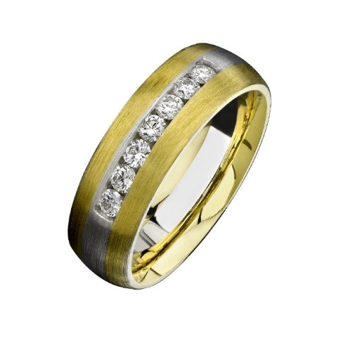 14K YELLOW WHITE GOLD BRUSHED CHANNEL DIAMOND MENS BAND NK13852 WY - 14K YELLOW & WHITE GOLD BRUSHED CHANNEL DIAMOND MEN'S BAND NK13852-WY