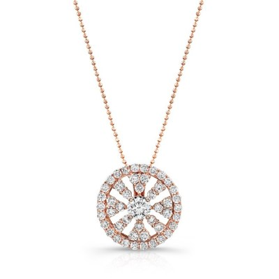 18K ROSE GOLD DIAMOND WHEEL PENDANT FM28983 18W - 18K ROSE GOLD DIAMOND WHEEL PENDANT FM28983-18W