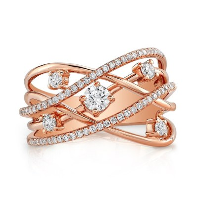 18K ROSE GOLD MULTIBAND DIAMOND FASHION BAND FM28999 18R - 18K ROSE GOLD MULTIBAND DIAMOND FASHION BAND FM28999-18R