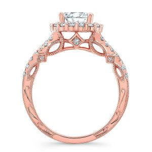 18K ROSE GOLD ROUND SHAPE HALO CRISS CROSS ENGAGEMENT RING NK35964 R 1 300x300 - Rose Gold  Engagement Rings Are Making A Comeback And We Are Here For It!