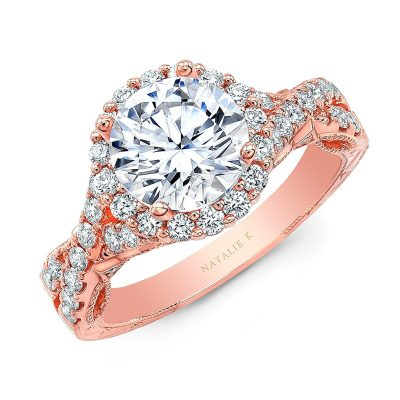 18K ROSE GOLD ROUND SHAPE HALO CRISS CROSS ENGAGEMENT RING NK35964 R - 18K ROSE GOLD ROUND SHAPE HALO CRISS CROSS ENGAGEMENT RING NK35964-R
