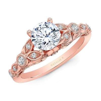 18K ROSE GOLD VINTAGE LEAF DESIGN ENGAGEMENT RING NK35966 R - 18K ROSE GOLD VINTAGE LEAF DESIGN ENGAGEMENT RING NK35966-R